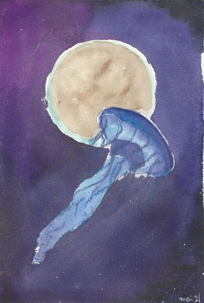 A Jellyfish in Space, May 2021 White Nights Watercolors by Nevskaya Palitra WeltraumQualle1