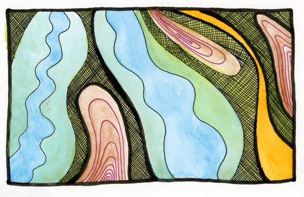 early pandemic watercolor doodle b 3.2020 by Rebecca Fish Ewan_