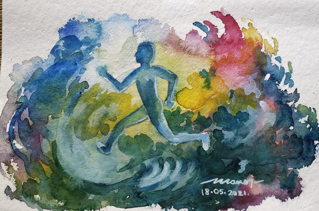 Dt: 18.05.2021 Sub: RUNNING Watercolor painting on handmade paper inbound746990318556429468