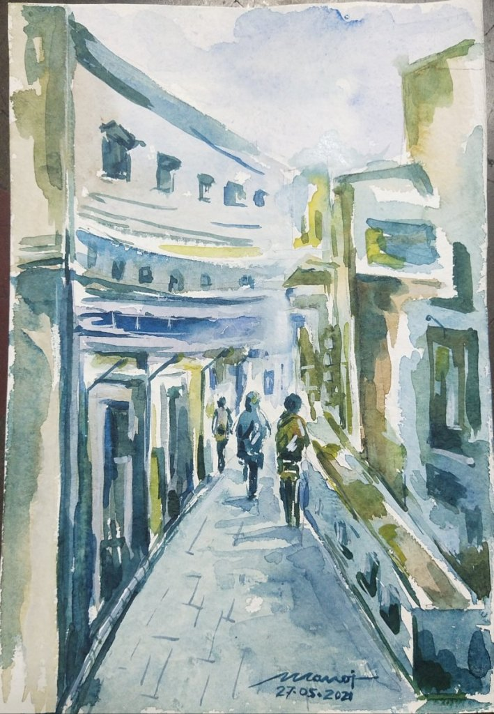 Dt: 27.05.2021 Sub: CITY Watercolor painting on handmade paper inbound7500987569542793178