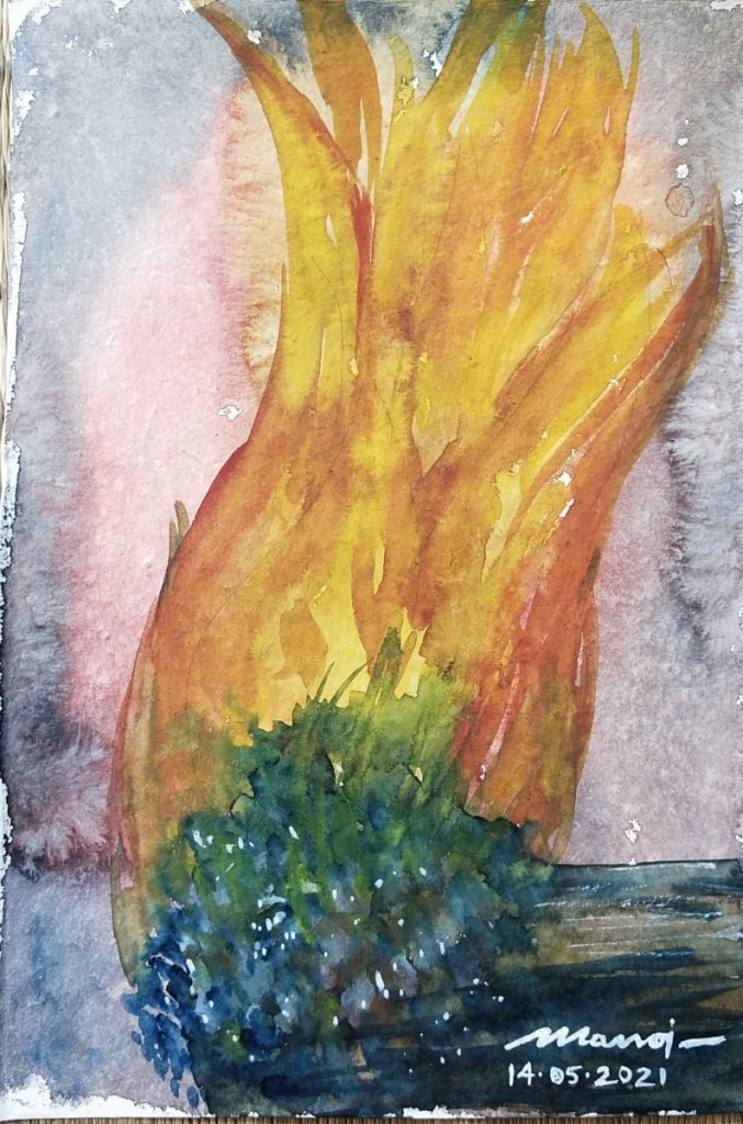 Dt:14.05.2021 Sub: FIRELIGHT Watercolor painting on handmade paper inbound8098918597391163829