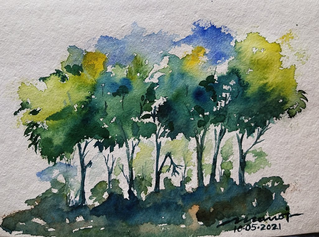 Dt: 10.05.2021 Sub: TREE Watercolor painting on handmade paper inbound8682776385190594192
