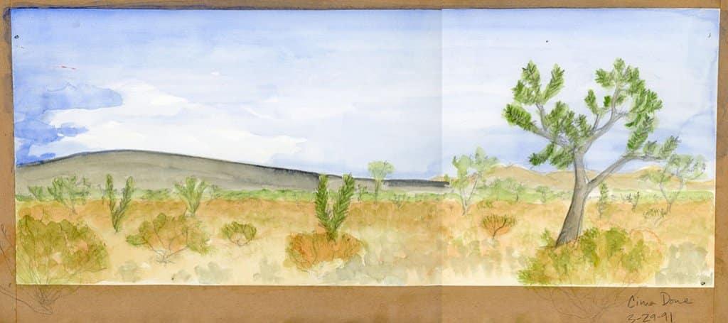 joshua tree watercolor sketch 1991