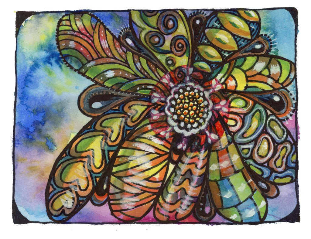 I painted along when Tracy Weinzapfel gave a free demo at Alice Hendon's Tangle All Around Faceboo