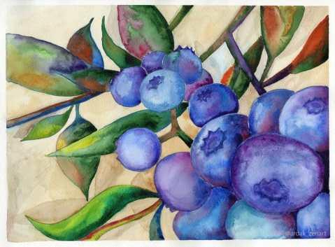 Wild-Blueberries Painting by Ardak Kassenova