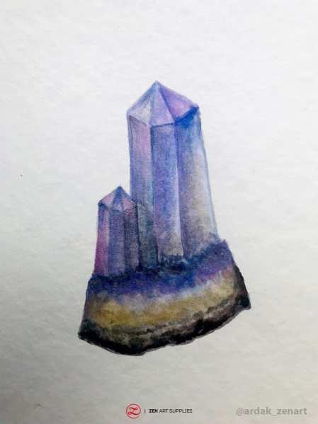 Mineral painted using metallic metallic watercolor by Ardak Kassenova