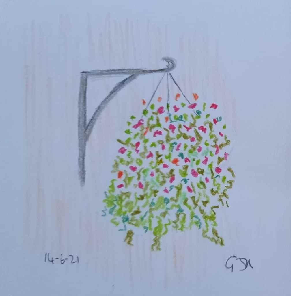 A quick coloured pencil sketch of a hanging basket. #doodlewashjune2021 Day 15 Basket. 20210614_1951