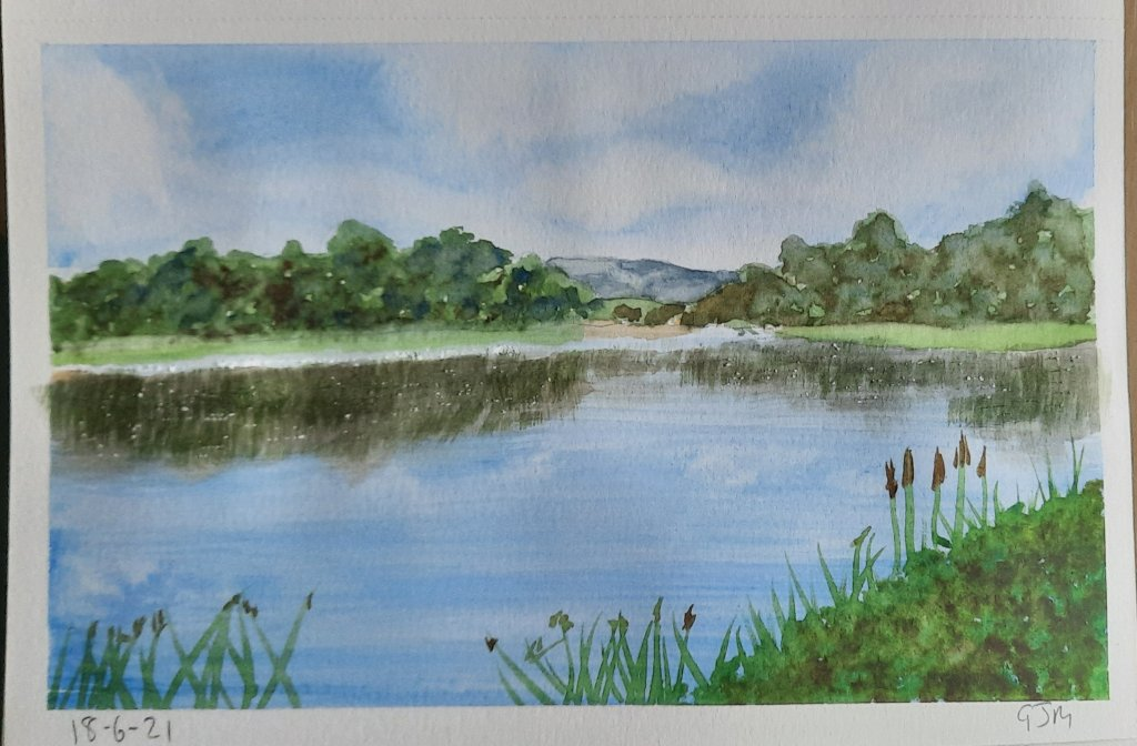 #doodlewashjune2021 Day 18 Lake. #worldwatercolorgroup 20210618_190818