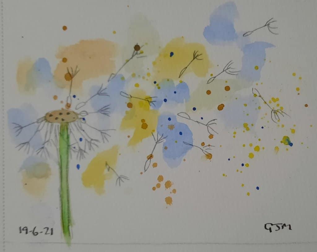 #doodlewashjune2021 Day 20 Dandelion. #worldwatercolorgroup 20210619_205223