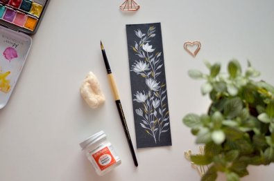 Black and white floral watercolor bookmark