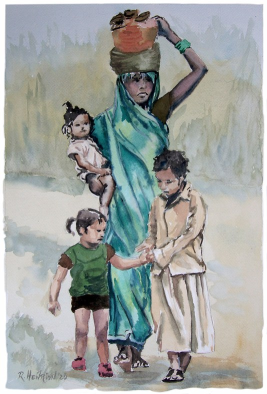 Brave_young_mother watercolor painting by Roland Henrion