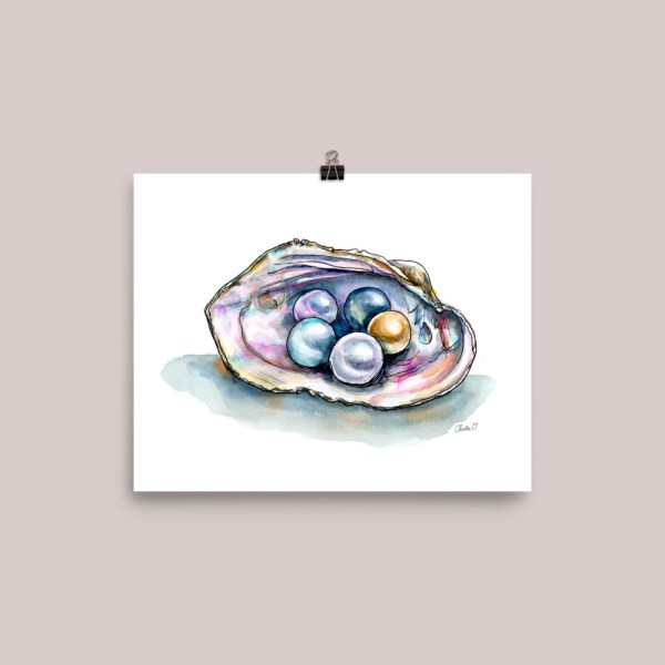 Colorful Pearls Clam Shell Watercolor Illustration Print
