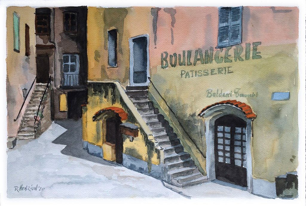 watercolor painting by Roland Henrion of Corte Corsica Boulangerie