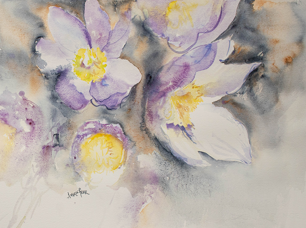 First Crocus Watercolor Painting by Angela Fehr