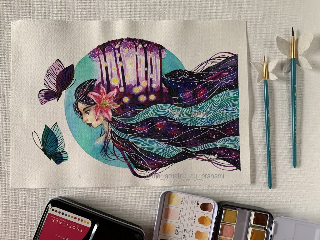 Girl painting watercolor by Pranami Poddar