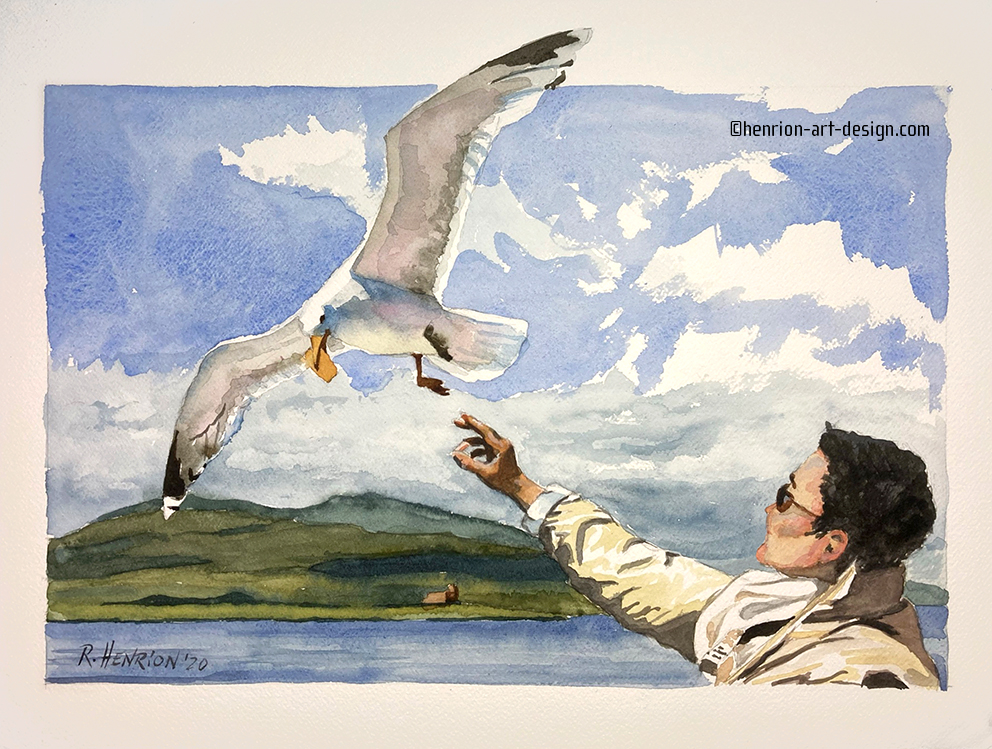 On a ferry boat in Scotland, my wife feeds cookies to the gulls. It took a whole pack of cookies and