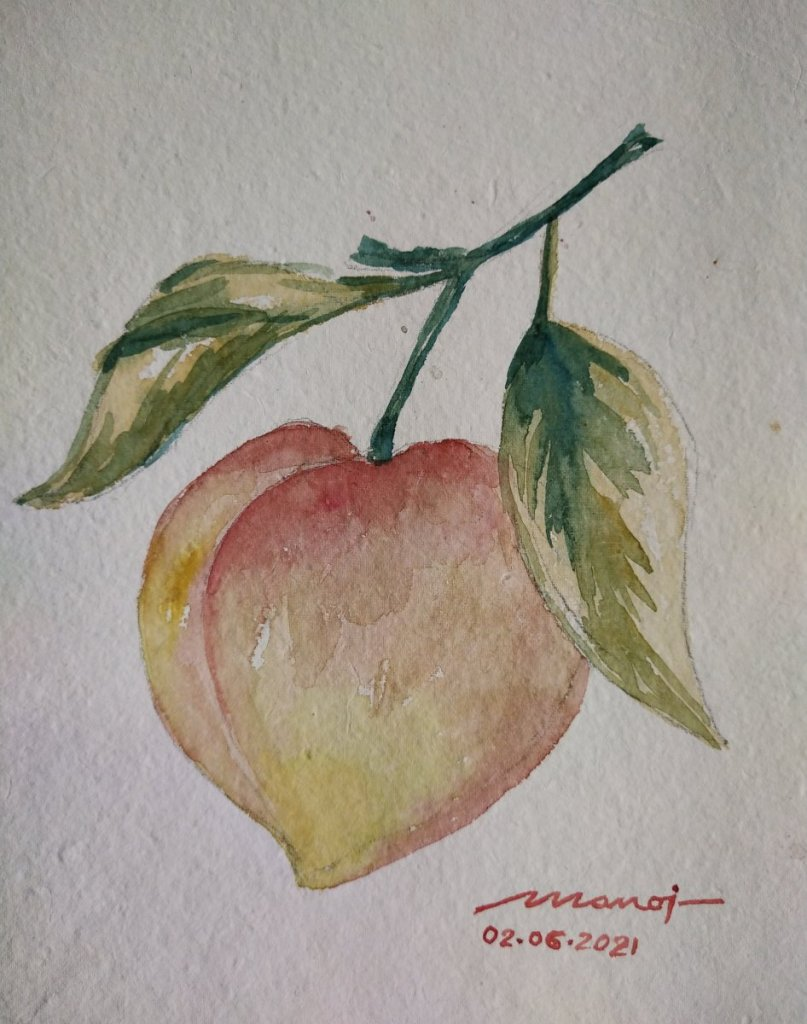 Dt: 02.06.2021 Sub: PEACHES Watercolor painting on handmade paper IMG_20210605_181023