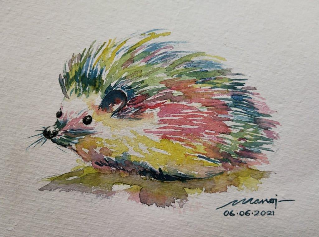 Dt: 06.06.2021 Sub: HEDGEHOG Watercolor painting on handmade paper IMG_20210606_151848