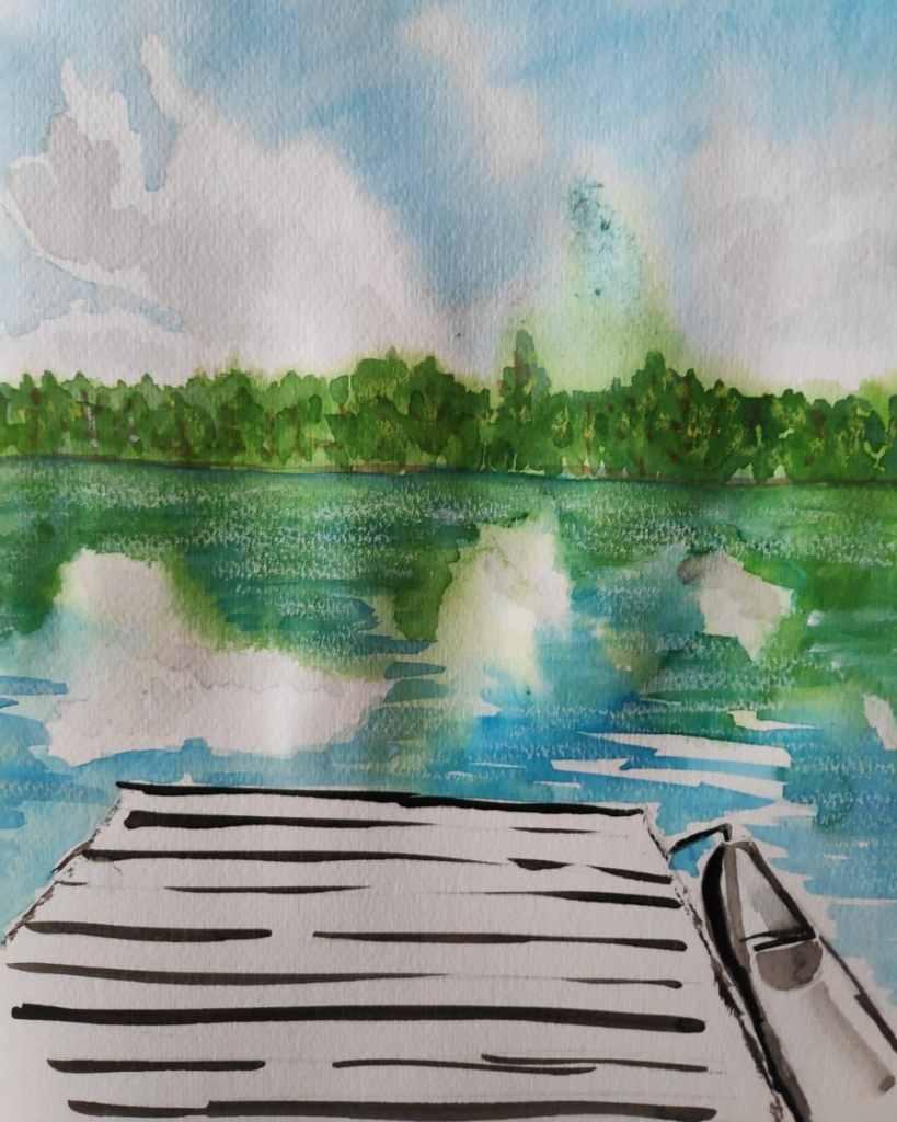 #day18 #lake #doodlewashjune2021 #worldwatercolorgroup IMG_20210618_124826_995