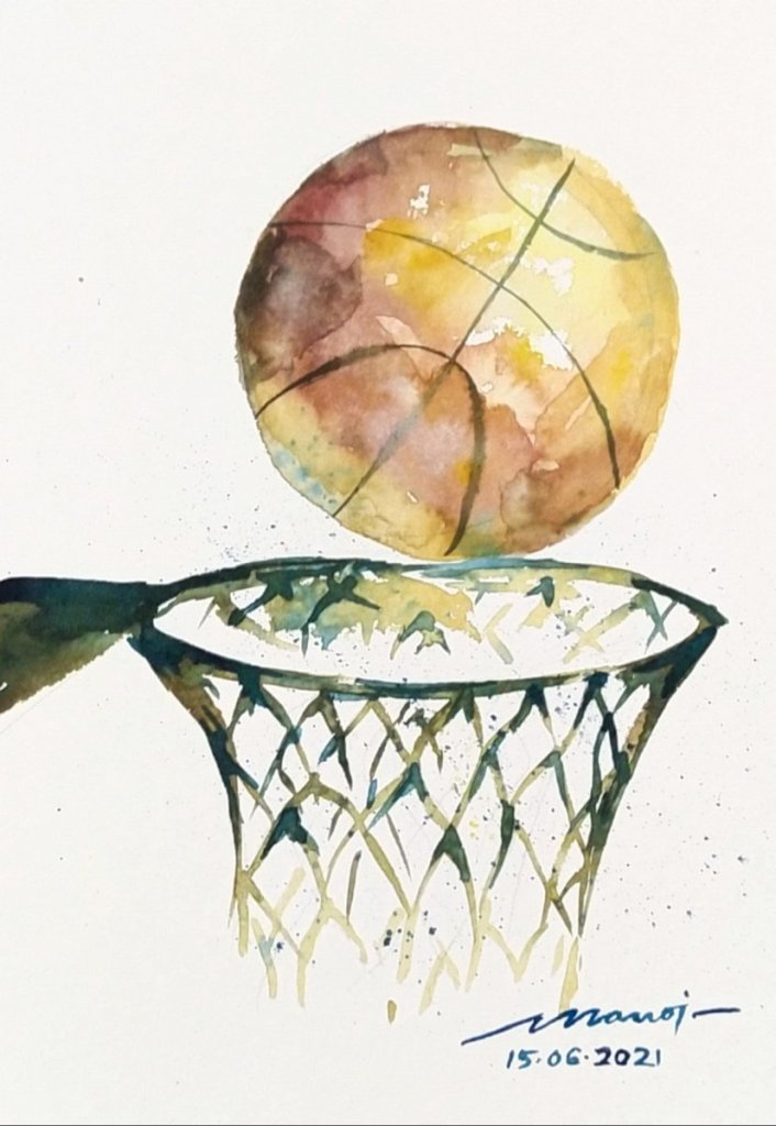 Dt: 15.06.2021 Sub: BASKET Watercolor painting on handmade paper IMG_20210619_071904