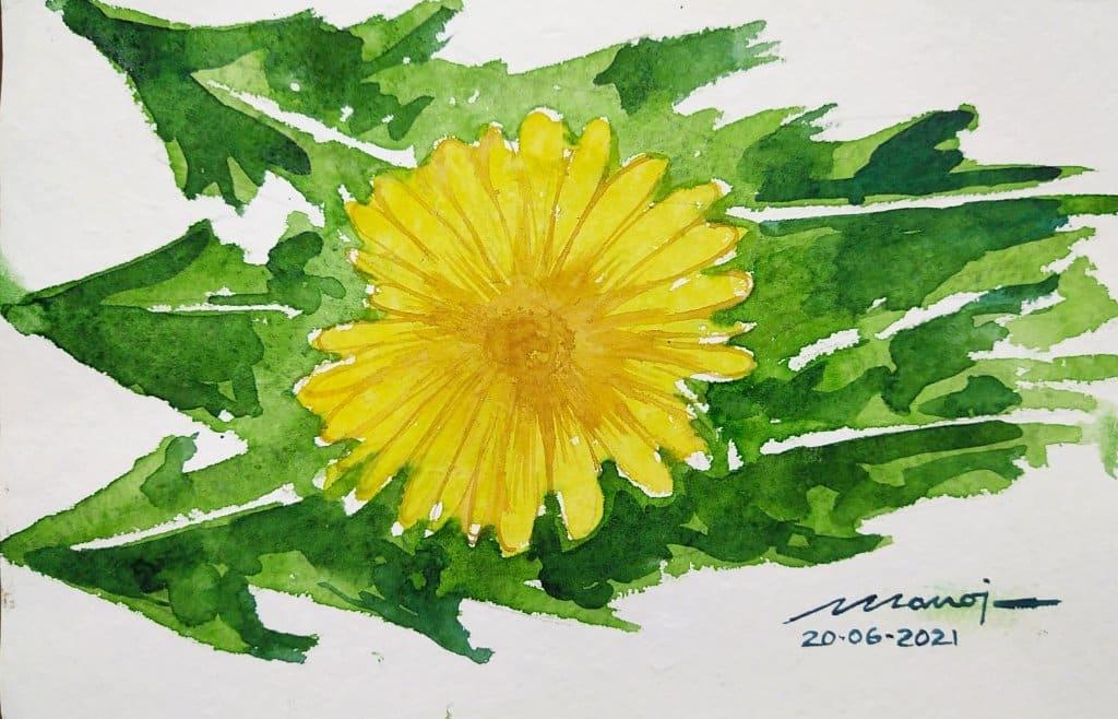 Dt: 20.06.2021 Sub: DANDELION Watercolor painting on handmade paper IMG_20210620_233923