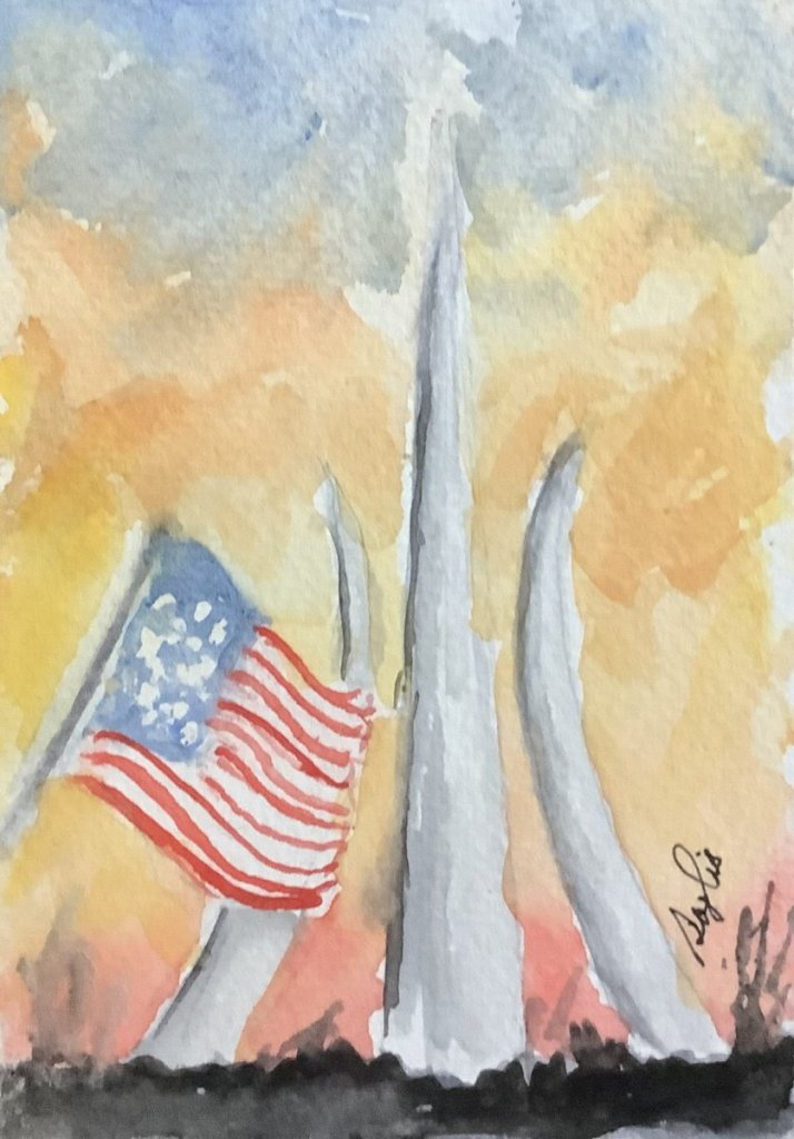 #doodlewashjune2021 day 19 flag: the US flag is flying at the AirForce memorial in Washington, DC IM