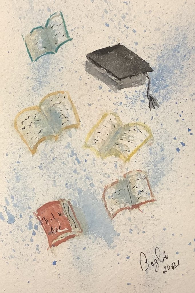 #doodlewashjune2021day 10 graduation: get rid of those books!!! IMG_3222