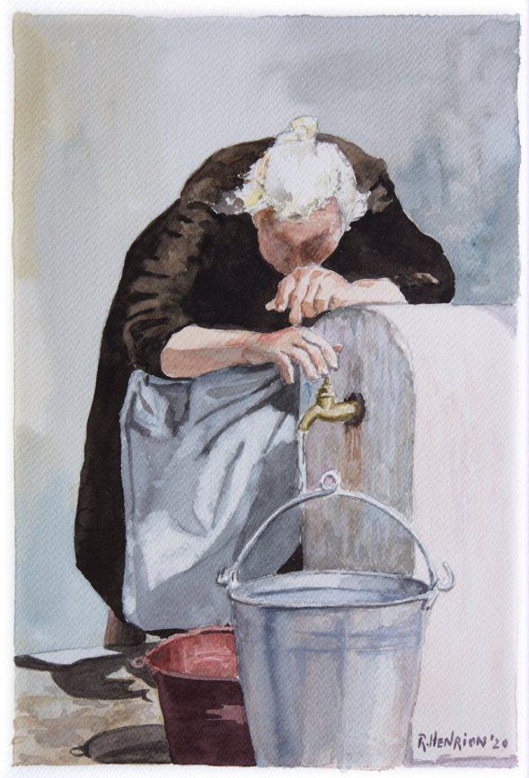 Old Woman Fountain painting in watercolor by Roland Henrion