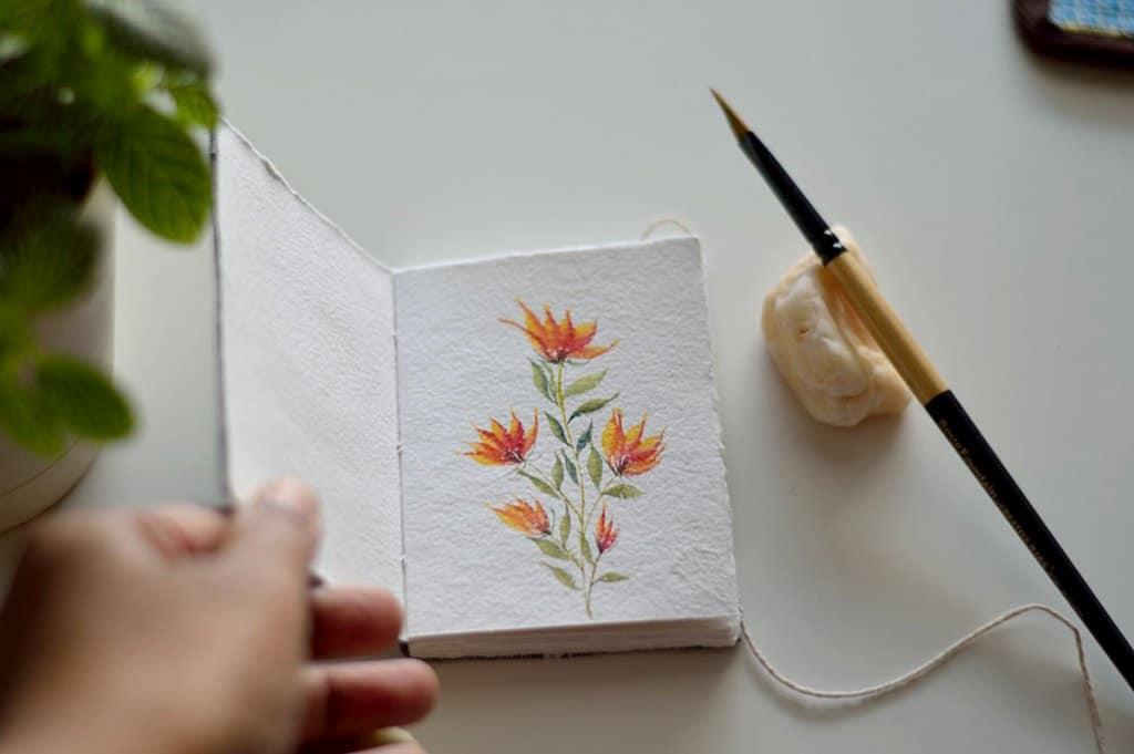 Orange Flowers Watercolor by Swapna Khade