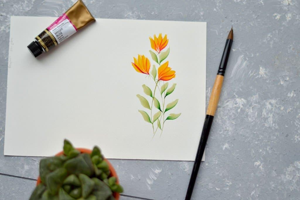 Orange Red Flowers Wateroclor Painting by Swapna Khade