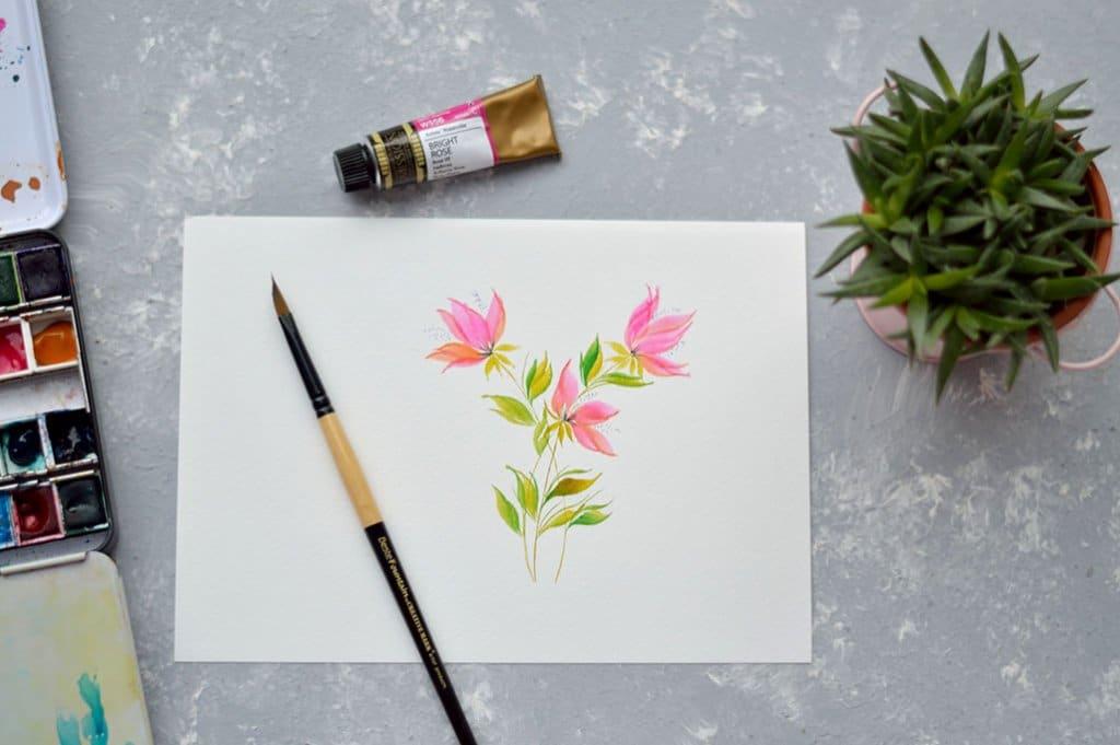 Pink Flowers Watercolor by Swapna Khade