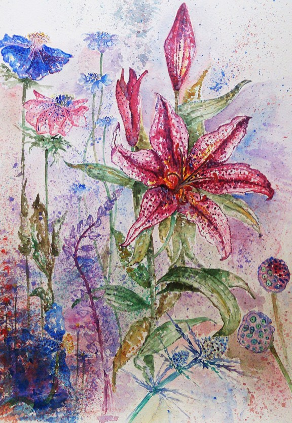 Pink and Blue Flowers Watercolor Painting by Seyedeh Ayeh Mirrezaei