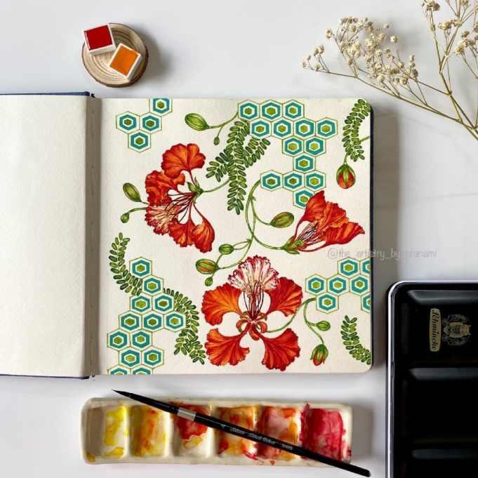 Sketchbook Flowers Watercolor by Pranami Poddar