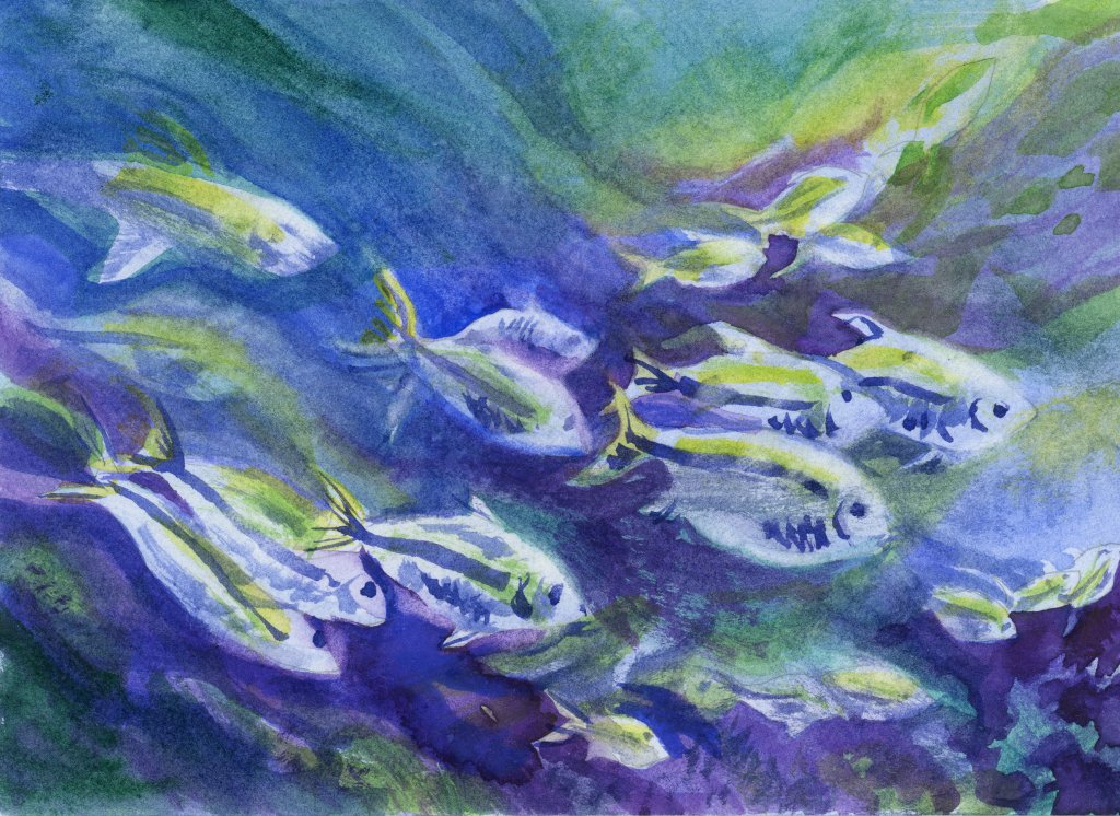Fishing painting using cool colors Aquafine Watercolour