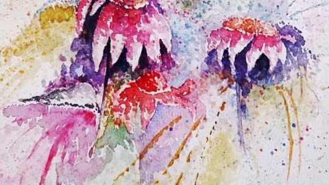 Various Flowers Loose Watercolor Painting by Seyedeh Ayeh Mirrezaei
