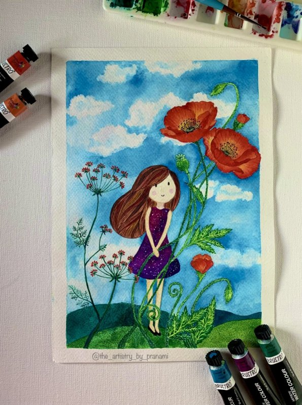 Whimisical Watercolor painting girl under flowers by Pranami Poddar