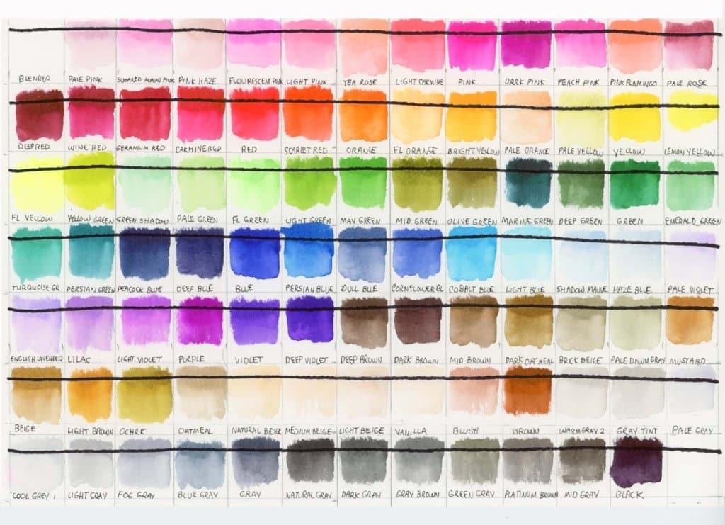 ZIG Clean Color Brush Pens Watercolor Color Chart
