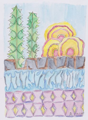 Abstract landscape , watercolour paint and pencils mojo120Wyseklein