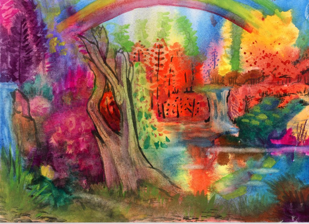 Rainbow Lake watercolor-ZenArt Allegro Watercolor on Strathmore Ready Cut