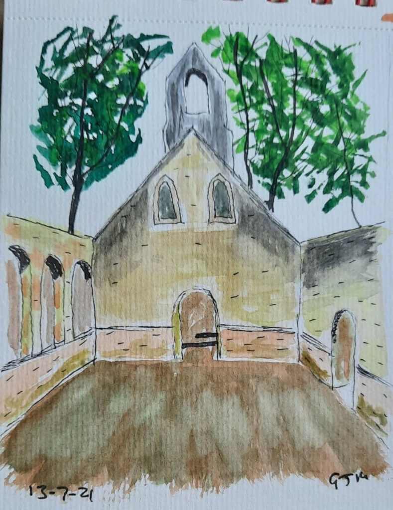 Abandoned church in Bedham. #doodlewashjuly2021 Day 13 Abandoned. #worldwatercolormonth #worldwaterc