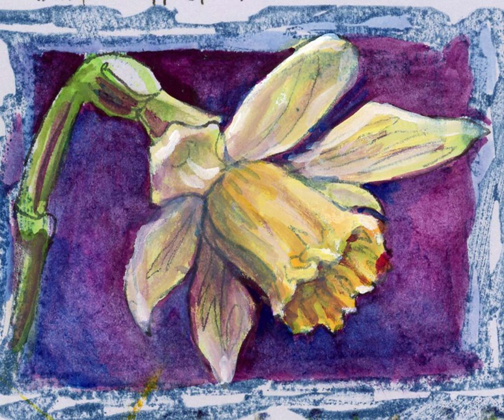 #WorldWatercolorMonth2021 Prompt: Home. Daffodils symbolize new beginnings so they're the flow