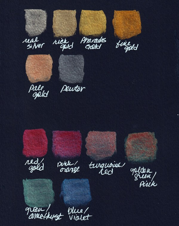 FINETEC Premium Pearlescent Watercolors on Black Paper
