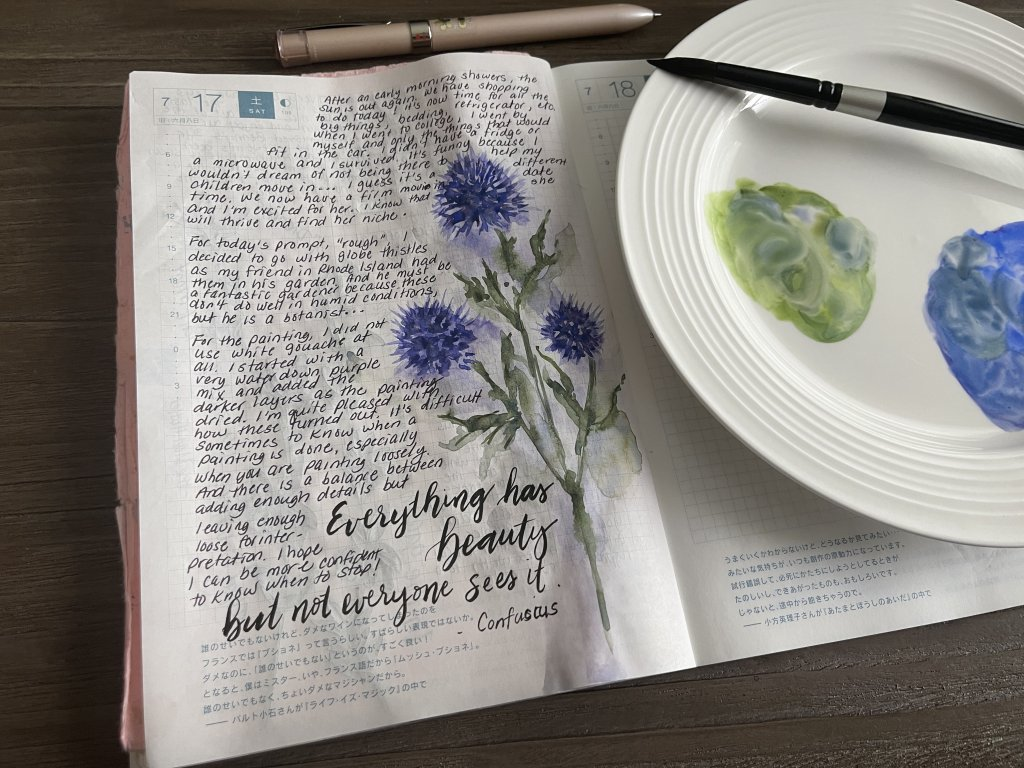 Day 17-Rough I sketched globe thistle flowers today. I painted in layers starting with a very watery