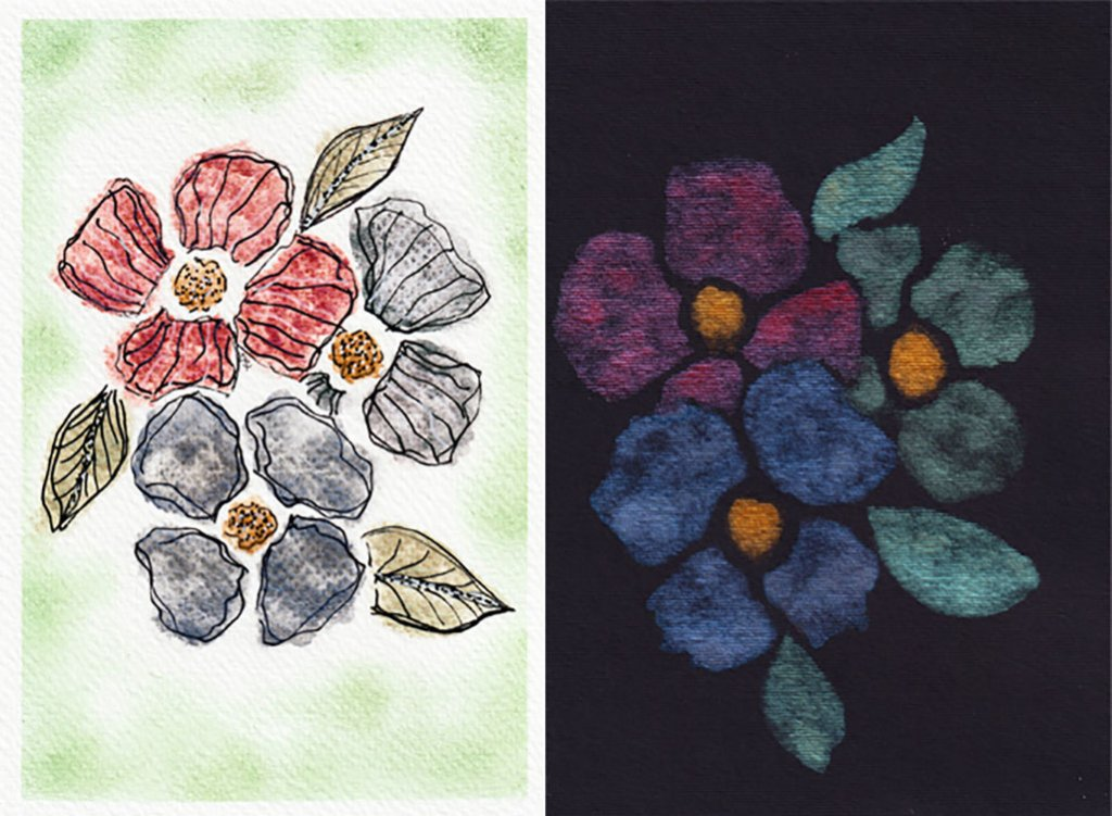 Finetec Pearlescent Colors Example Flowers on white and black paper