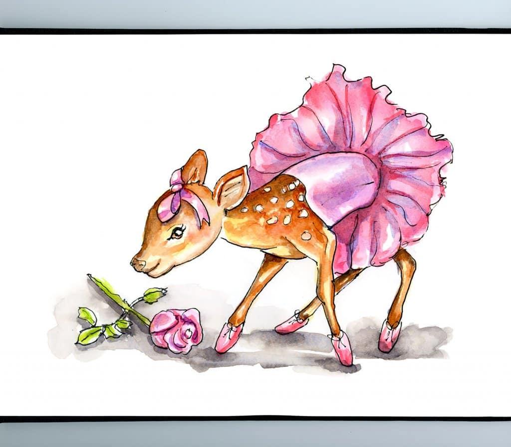 Baby Deer Fawn Wearing Ballerina Tutu Watercolor Illustration Painting Sketchbook