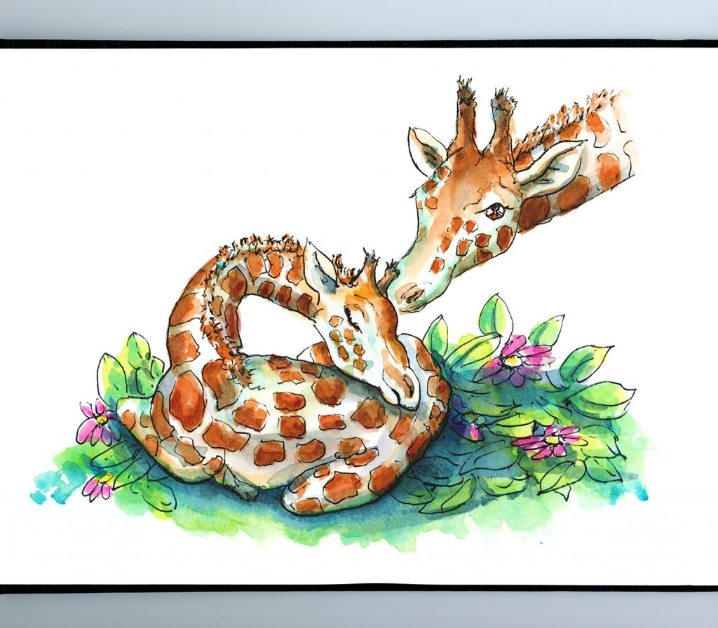 Baby Giraffe And Mother Bedtime Sleeping Watercolor Illustration Painting Sketchbook Detail