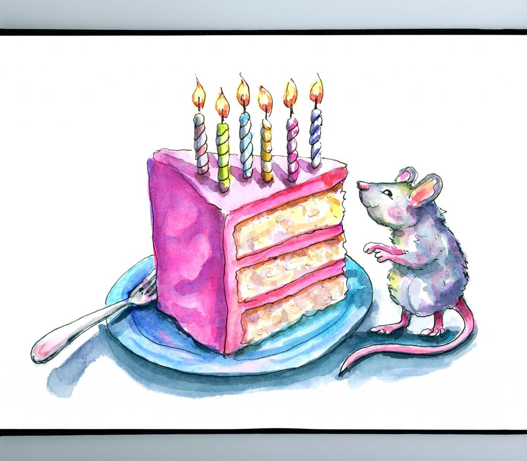 Birthday Cake 6 Candles Mouse Watercolor Illustration Painting Sketchbook Detail