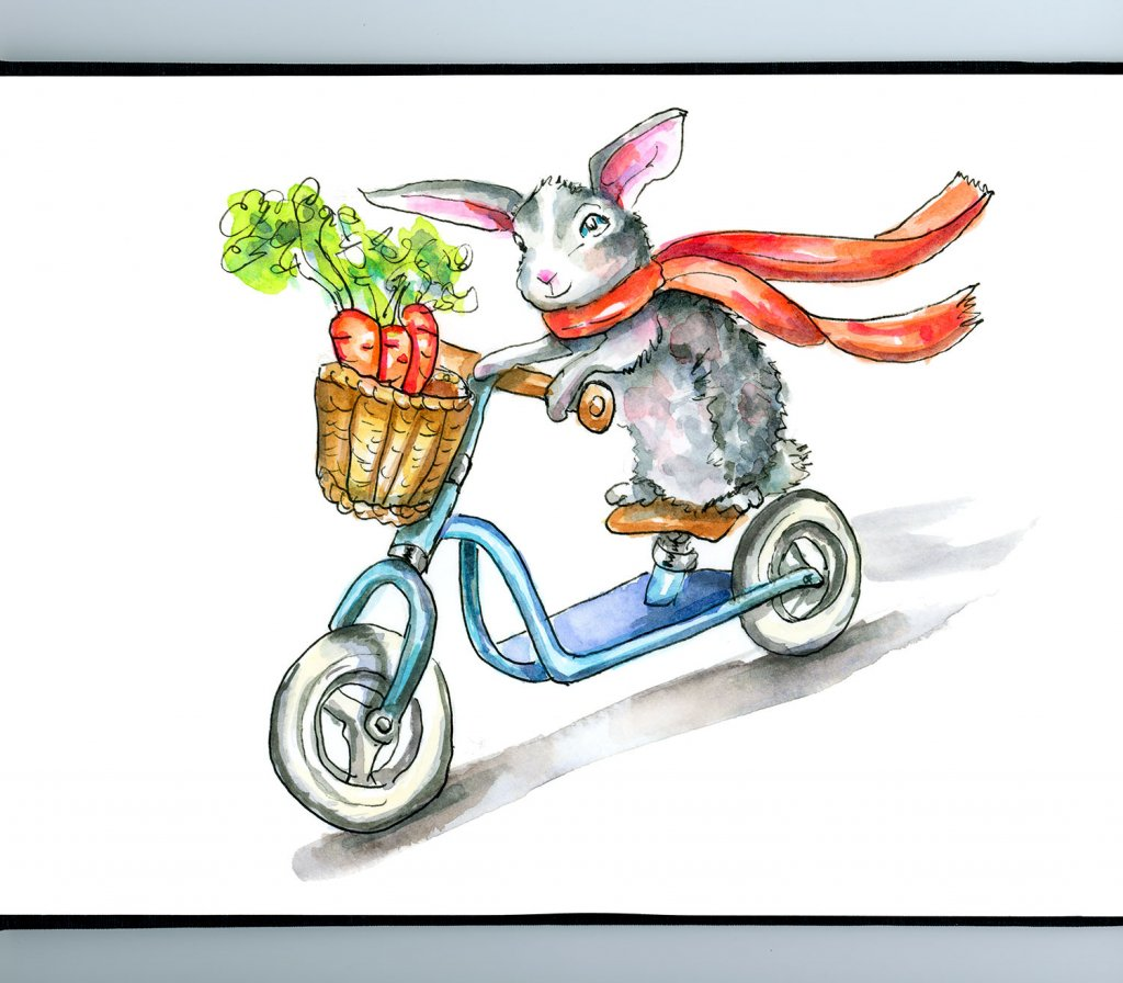 Bunny On A Bicycle Rabbit Bike Watercolor Illustration Sketchbook Detail