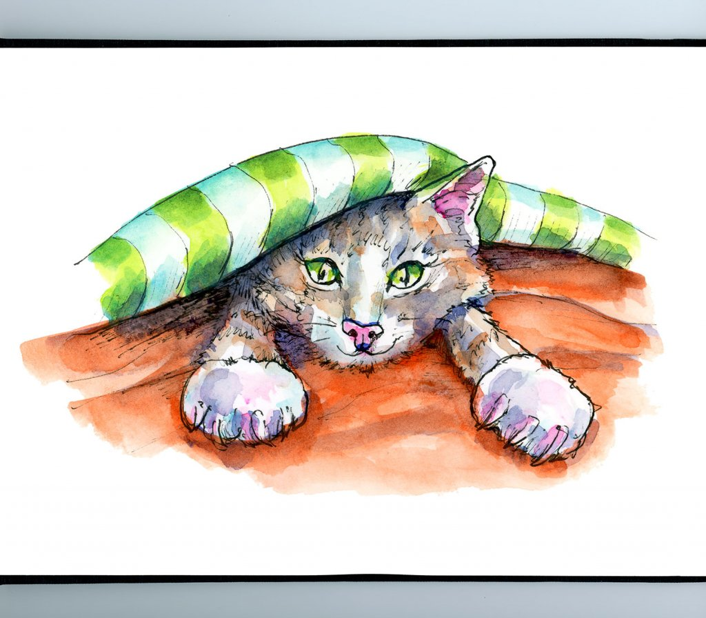 Cat Kitten In Bed Under Covers Watercolor Illustration Painting Sketchbook Detail