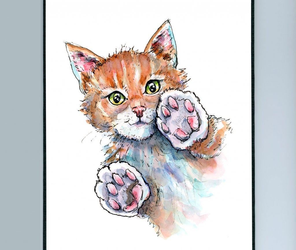 Cat Paws Playing Patty Cake Pat-a-cake Watercolor Illustration Painting Sketchbook Detail